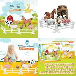 Plastic Farm Animals For Toddlers - 10 Piece Jumbo Set Inclu