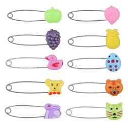 Plastic Head Safety Pins Infant Kids Cloth Nappy Locking Bro