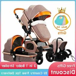pram newborn baby stroller 3 in 1 aluminium alloy frame with
