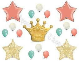 PRINCESS CORAL MINT GOLD Birthday Party Balloons Decoration