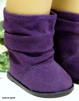 "PURPLE Suede Slouchy DOLL BOOTS SHOES fits 18"" AMERICAN GIRL"