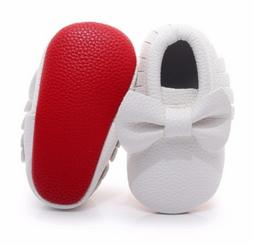 Red Bottom Baby First Walkers Handmade Soft Moccasins White