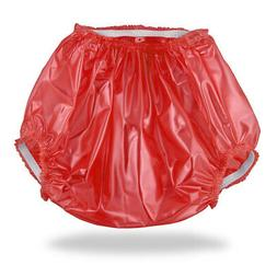 Red Plastic Pants Adult Baby Diaper Cover Diapers & Nappy AB