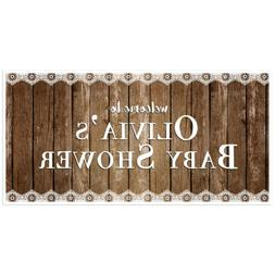 Rustic Wood and Lace Baby Shower Banner Personalized Baby Sh
