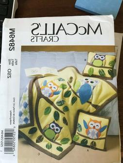 McCalls Nursery Quilt and Pillows Owls M6482 Adorable UNCUT