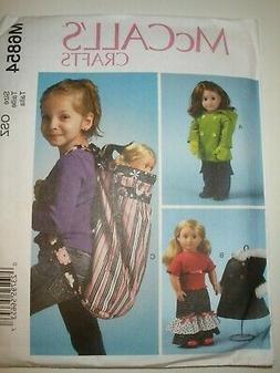 "MCCALLS PATTERN 6854 AMERICAN CHILD BACKPACK 18"" DOLLS CLOTH"