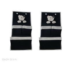 Set of 2 Nautical Soft Teddy Bear 3 Pocket Fabric Nursery Wa