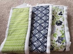 Set of 3 Baby Girl/Boy Green Blue Cloth Diaper Burp Rags 100