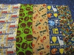 Set of 5 Multicolored Boy Sports/Football Double-Sided Flann