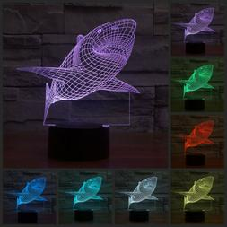 Shark 3D abstraction bedroom night 7 color led touch switch