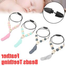 Silicone Feather Beads Teething Necklace Pendant Baby Teethe