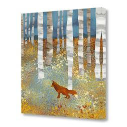 GEVES Silver Birch Forest Fox Wall Art Paintings Baby Gifts