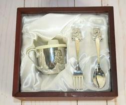 Silver Plated Teddy Bear Baby Cup Fork & Spoon Set Wood Box