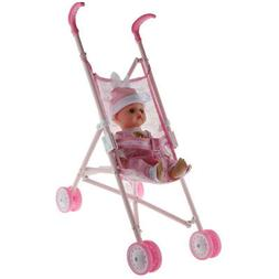 Simulation 11inch Baby Girl Doll And Abs Metal Stroller Trol