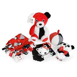 Smarty Baby Bundle - 5 Black, White and Red Infant Toys, New