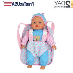 """Soft Body Baby Doll 12"""" Backpack Carrier Kids Toddler Toy Br"""
