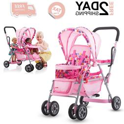 Stroller Baby Toy Carrier Doll With Hood Storage Basket Cabo