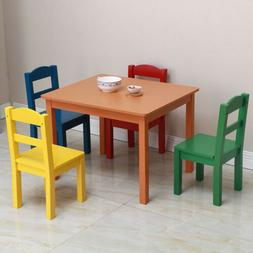 Kids Wood Table & 4 Chairs Set Study Playroom Home School To