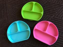 1 Suction baby Plate Dishes For Toddlers + Silicone Spoon BP