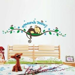 Sweet Dream Monkey Wall Sticker Decal Removable Kid Baby Nur