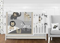 Sweet Jojo Grey Safari Jungle Animal 9pc Baby Girl Boy Nurse