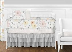 Sweet Jojo Yellow Grey Shabby Chic Watercolor Floral Nursery