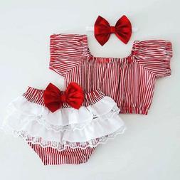 Sweet  Xmas Baby Christmas Xmas girl Outfit Plaid Top+Shorts