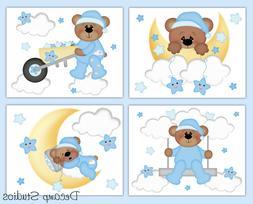 Teddy Bear Nursery Decal Baby Boy Wall Art Cloud Star Moon S