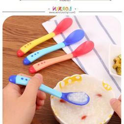 Temperature Heat Sensing Baby Silicon Spoon Safety Feeding T