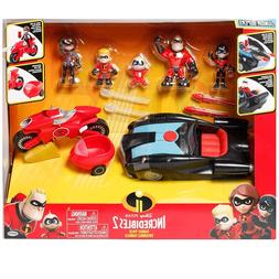 The Incredibles 2 Junior Super Family 8-Pack Toy Play Set Gi