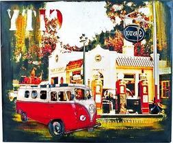Tin Sign Picture Board Hippie VW Bus Bulli T2 Vintage Decora