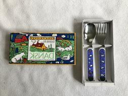 Dansk Toddler 2 Piece Flatware Set Spoon Fork Farmhouse Frie