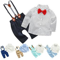 Toddler Baby Boy Gentleman 2PCS Outfits Shirt Tops + Suspend