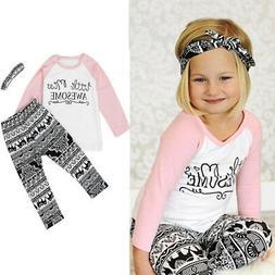 Toddler Baby Kids Girls Clothes T-shirt Pants Leggings Headb