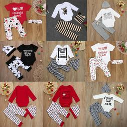 Toddler Baby Newborn Boys Girls Romper+Pants+Hat Outfit 3Pcs