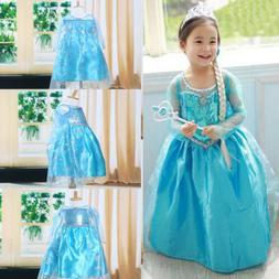 Toddler Girl Kid Children Princess Anna Elsa Cosplay Costume