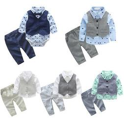 Toddler Kids Baby Boy Gentleman Outfit Suit Romper Shirt Ves