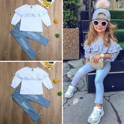 Toddler Kids Baby Girls Clothing Long Sleeve Shirt Denim Pan