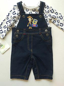 TOY STORY WOODY DENIM LIKE OVERALLS & SNAP BOTTOM TEE-2 PIEC