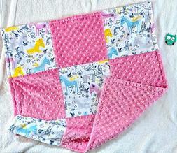 Unicorn Minky Baby Blanket, Car Seat, Security Blanket, Stro