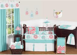 Sweet JoJo Designs Unique Turquoise Blue and Coral Emma Baby