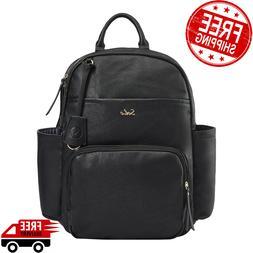 Leather Baby Bag Diaper Unisex Black Waterproof Changing Pad