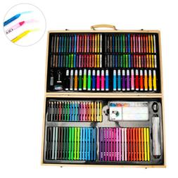 US 180Pcs Child Painting Set Water Pen Gift Wood Box Crayon