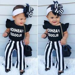 US 2019 Fashion Blogger Baby Girl Outfits Set Ruffle Top Fla