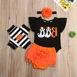 US 2019 Halloween Baby Girl Romper+Flower Shorts 5PCS Outfit