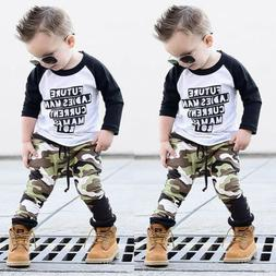US 2PCS Kids Baby Boys Clothes Outfit Set T Shirt Tops+Camou