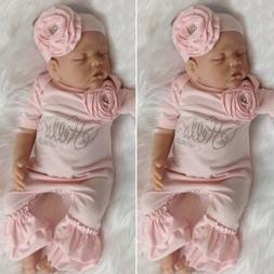 US 2PCS Newborn Baby Girl 3D Floral Ruffle Romper Jumpsuit O