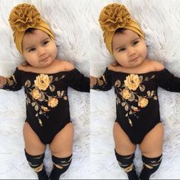 US 3PCS Newborn Baby Girl Off Shoulder Flower Romper+Leg War