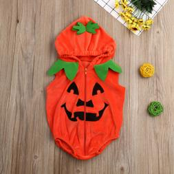 us baby girl boy halloween pumpkin romper