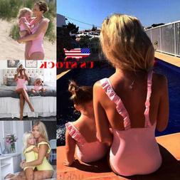 US Family Matching Womens Kids Baby Girls Bikini Bathing Sui